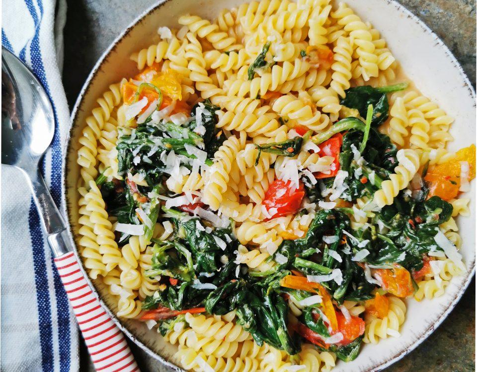 snelle pasta met spinazie